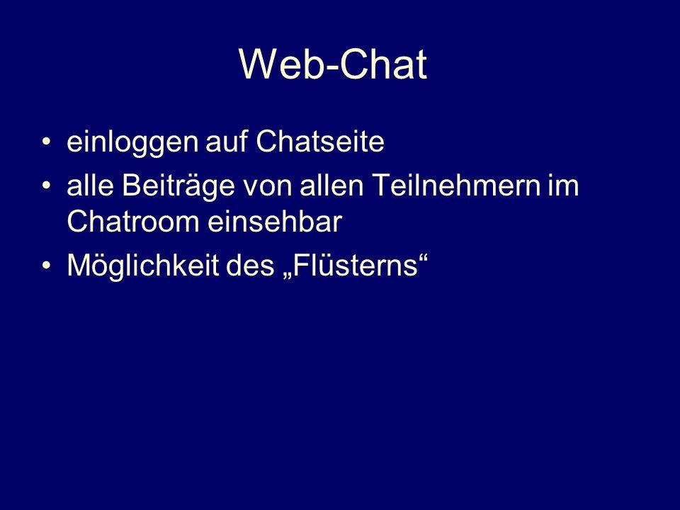 Web-Chat einloggen auf Chatseite alle Beiträge von allen Teilnehmern im Chatroom einsehbar Möglichkeit des Flüsterns