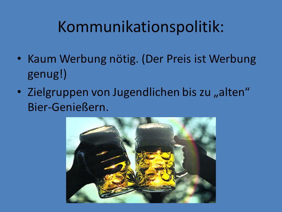 Kommunikationspolitik: Kaum Werbung nötig. (Der Preis ist Werbung genug!) Zielgruppen von Jugendlichen bis zu alten Bier-Genießern.