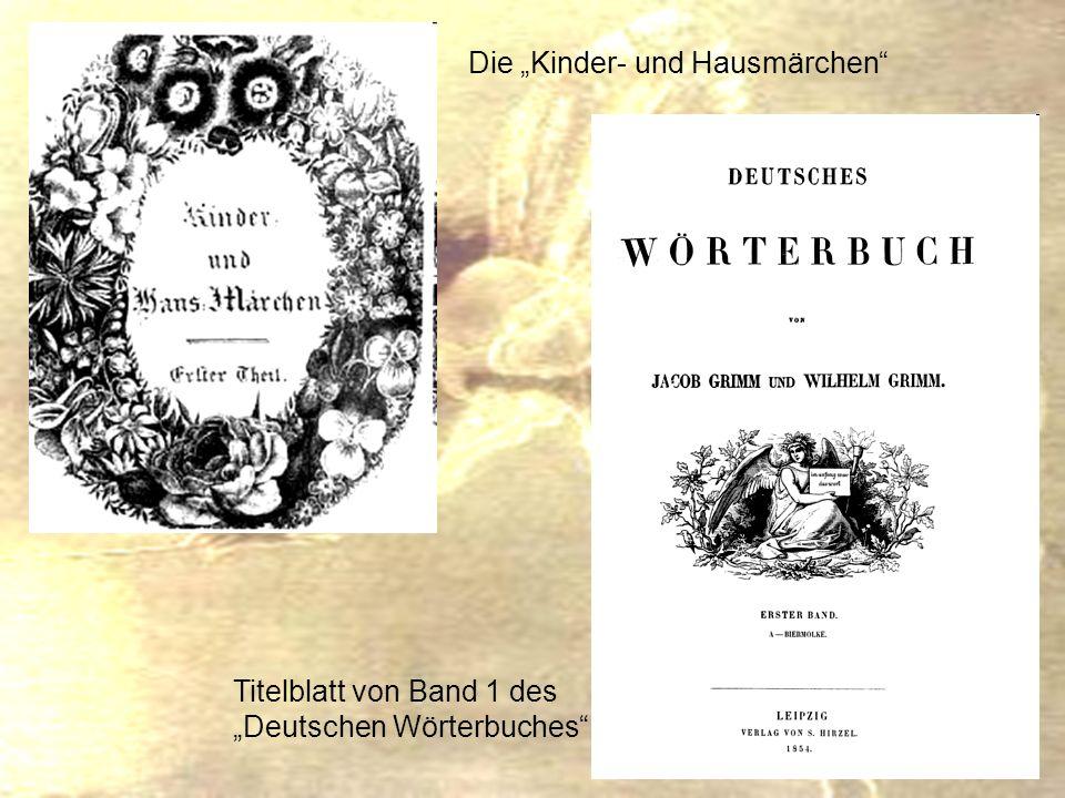 Die Kinder- und Hausmärchen Titelblatt von Band 1 des Deutschen Wörterbuches