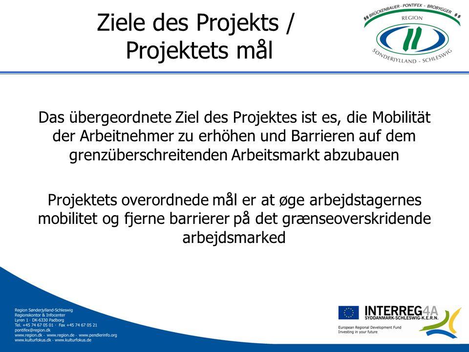 Ziele des Projekts / Projektets mål Das übergeordnete Ziel des Projektes ist es, die Mobilität der Arbeitnehmer zu erhöhen und Barrieren auf dem grenz