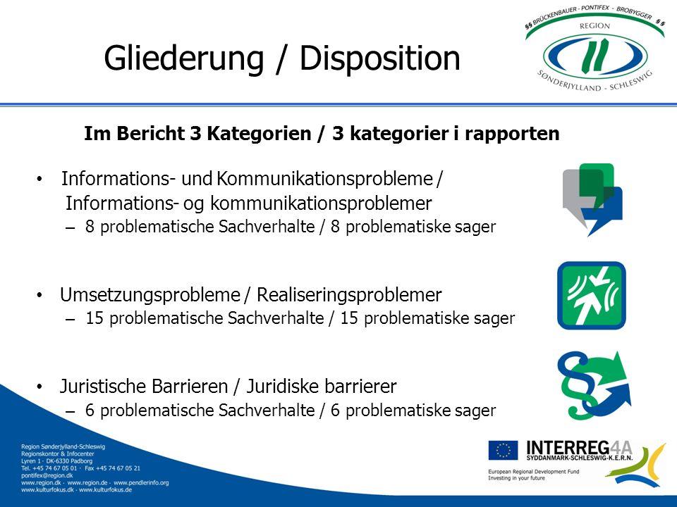 Gliederung / Disposition Im Bericht 3 Kategorien / 3 kategorier i rapporten Informations- und Kommunikationsprobleme / Informations- og kommunikations