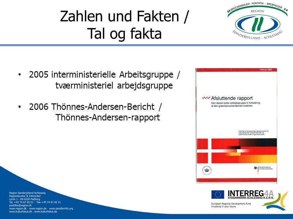 Zahlen und Fakten / Tal og fakta 2005 interministerielle Arbeitsgruppe / tværministeriel arbejdsgruppe 2006 Thönnes-Andersen-Bericht / Thönnes-Anderse