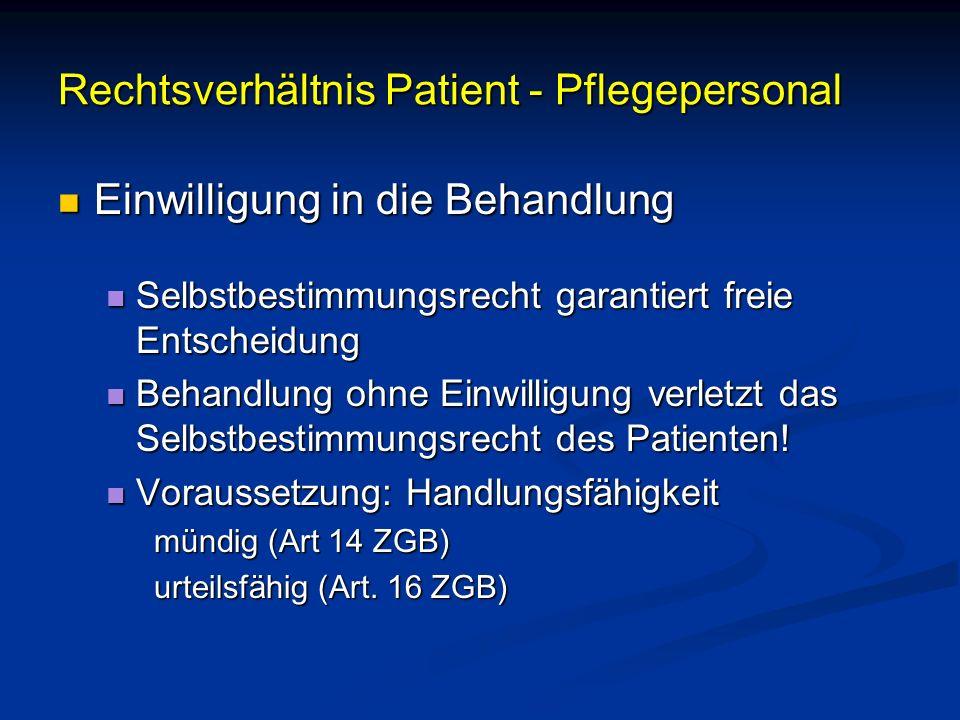 Rechtsverhältnis Patient - Pflegepersonal Einwilligung in die Behandlung Einwilligung in die Behandlung Selbstbestimmungsrecht garantiert freie Entsch