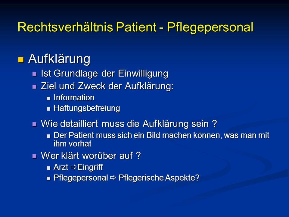 Rechtsverhältnis Patient - Pflegepersonal Aufklärung Aufklärung Ist Grundlage der Einwilligung Ist Grundlage der Einwilligung Ziel und Zweck der Aufkl