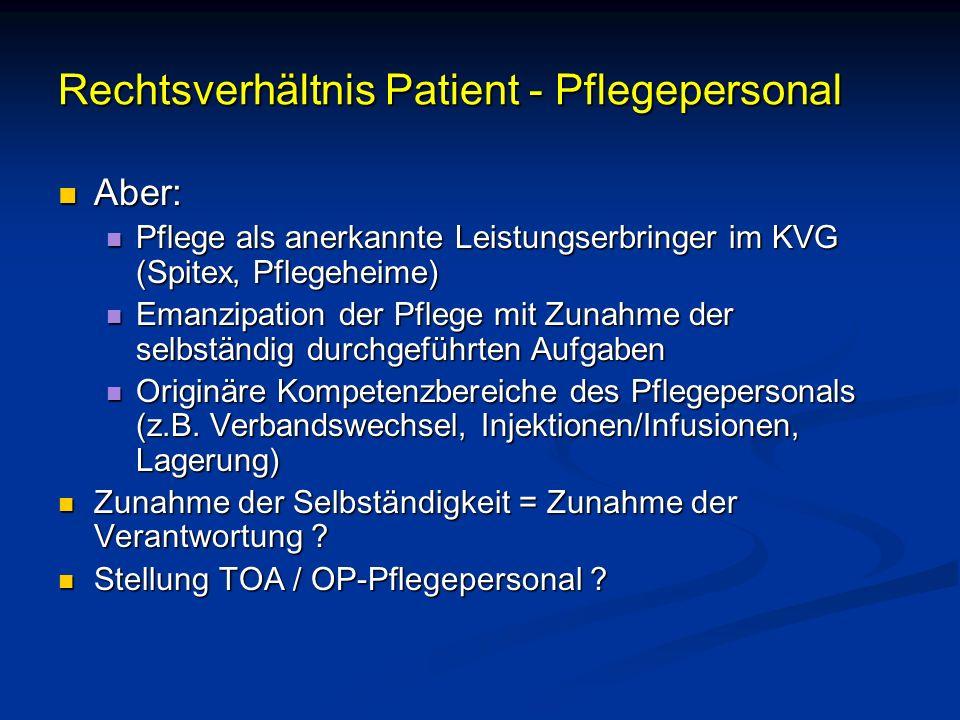 Rechtsverhältnis Patient - Pflegepersonal Aber: Aber: Pflege als anerkannte Leistungserbringer im KVG (Spitex, Pflegeheime) Pflege als anerkannte Leis
