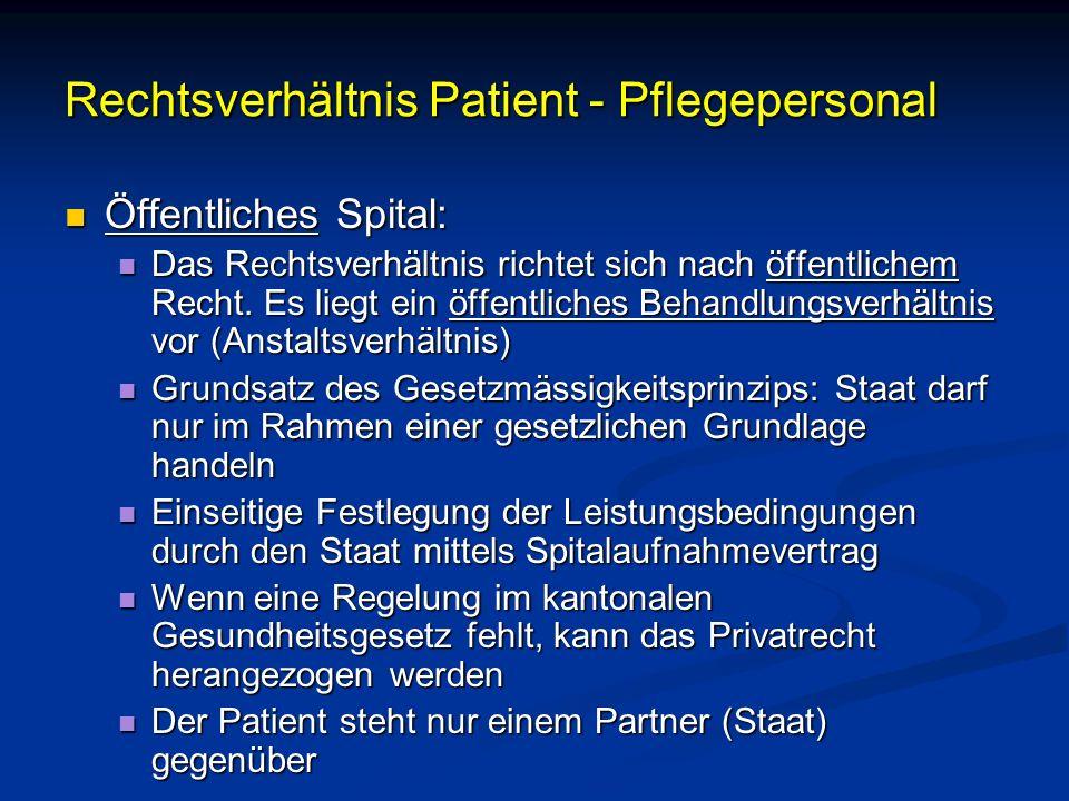 Rechtsverhältnis Patient - Pflegepersonal Öffentliches Spital: Öffentliches Spital: Das Rechtsverhältnis richtet sich nach öffentlichem Recht. Es lieg