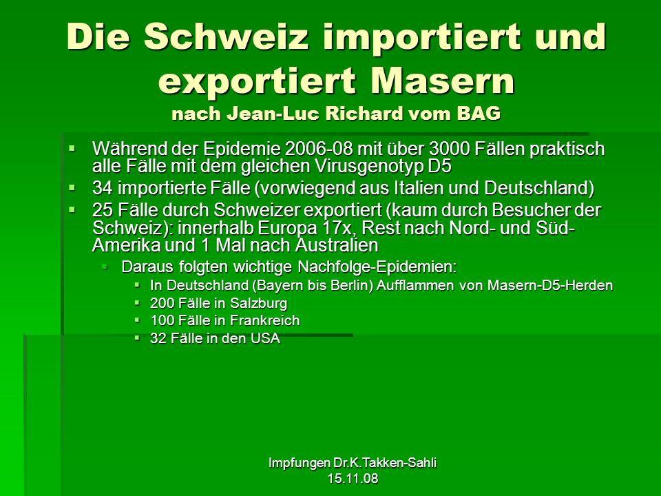 Impfungen Dr.K.Takken-Sahli 15.11.08 Die Schweiz importiert und exportiert Masern nach Jean-Luc Richard vom BAG Während der Epidemie 2006-08 mit über