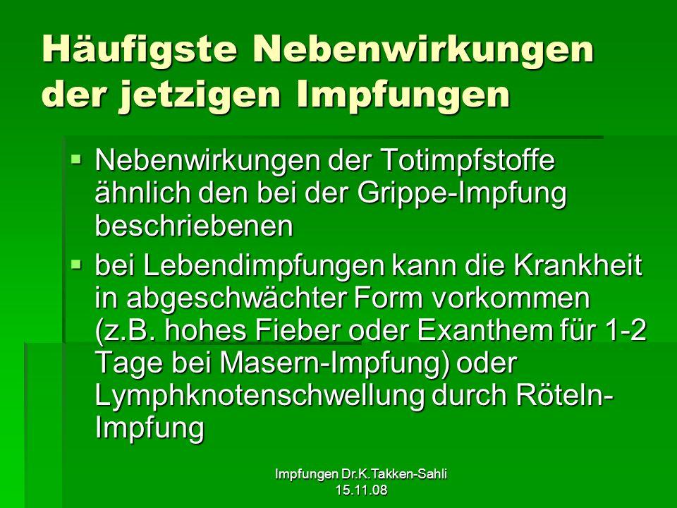 Impfungen Dr.K.Takken-Sahli 15.11.08 Häufigste Nebenwirkungen der jetzigen Impfungen Nebenwirkungen der Totimpfstoffe ähnlich den bei der Grippe-Impfu
