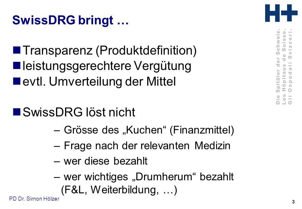3 SwissDRG bringt … Transparenz (Produktdefinition) leistungsgerechtere Vergütung evtl.