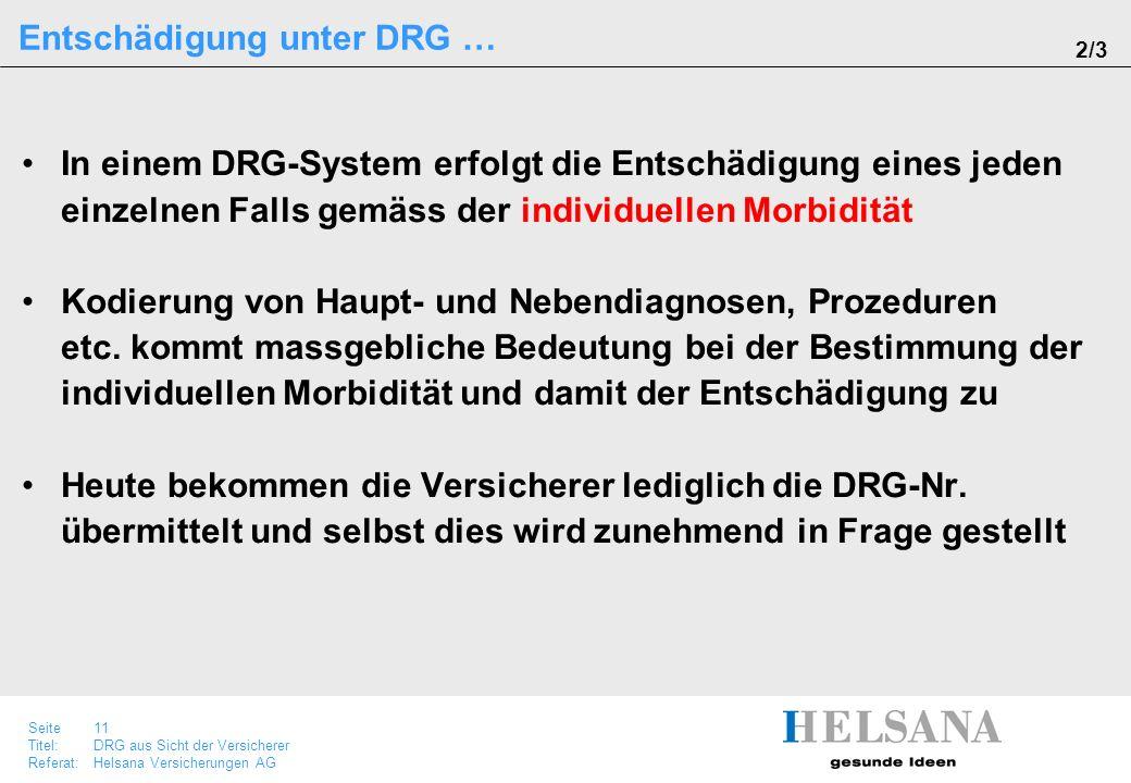 Seite 11 Titel:DRG aus Sicht der Versicherer Referat:Helsana Versicherungen AG In einem DRG-System erfolgt die Entschädigung eines jeden einzelnen Fal