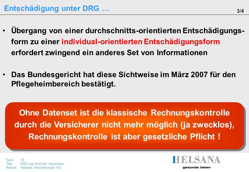 Seite 12 Titel:DRG aus Sicht der Versicherer Referat:Helsana Versicherungen AG Übergang von einer durchschnitts-orientierten Entschädigungs- form zu e