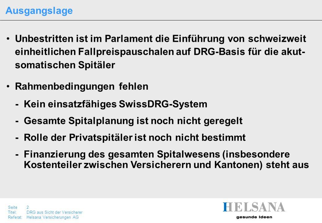 Seite 2 Titel:DRG aus Sicht der Versicherer Referat:Helsana Versicherungen AG Unbestritten ist im Parlament die Einführung von schweizweit einheitlich