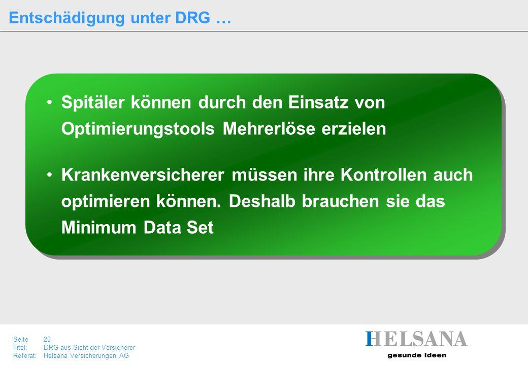 Seite 20 Titel:DRG aus Sicht der Versicherer Referat:Helsana Versicherungen AG Entschädigung unter DRG … Spitäler können durch den Einsatz von Optimie
