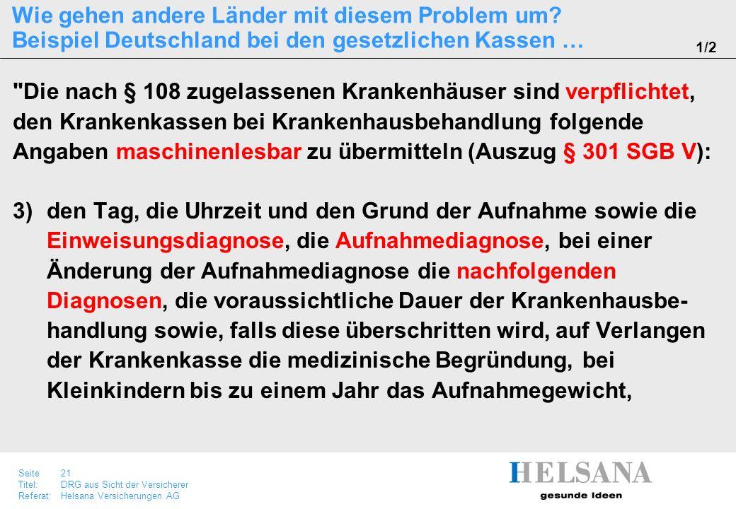Seite 21 Titel:DRG aus Sicht der Versicherer Referat:Helsana Versicherungen AG Wie gehen andere Länder mit diesem Problem um? Beispiel Deutschland bei