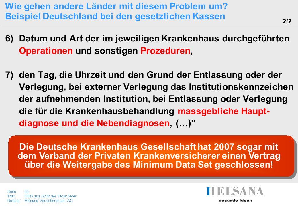 Seite 22 Titel:DRG aus Sicht der Versicherer Referat:Helsana Versicherungen AG Wie gehen andere Länder mit diesem Problem um? Beispiel Deutschland bei