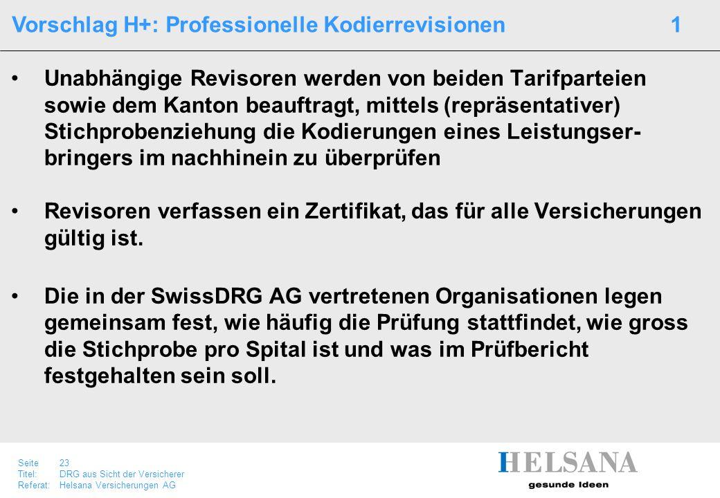 Seite 23 Titel:DRG aus Sicht der Versicherer Referat:Helsana Versicherungen AG Unabhängige Revisoren werden von beiden Tarifparteien sowie dem Kanton