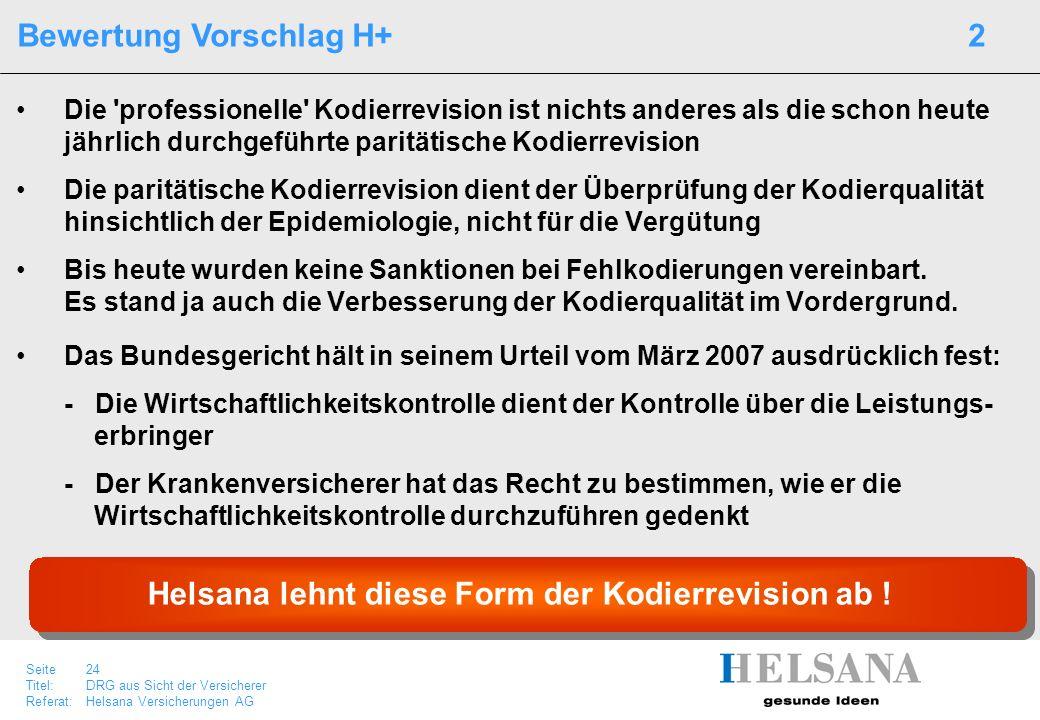 Seite 24 Titel:DRG aus Sicht der Versicherer Referat:Helsana Versicherungen AG Die 'professionelle' Kodierrevision ist nichts anderes als die schon he