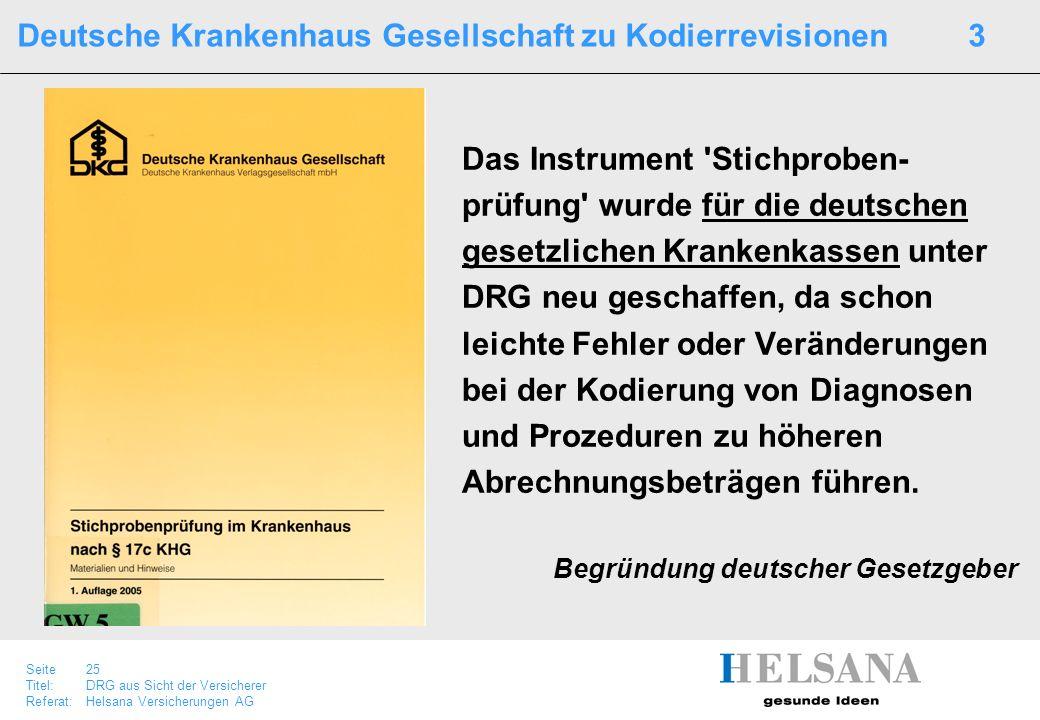 Seite 25 Titel:DRG aus Sicht der Versicherer Referat:Helsana Versicherungen AG Deutsche Krankenhaus Gesellschaft zu Kodierrevisionen 3 Das Instrument