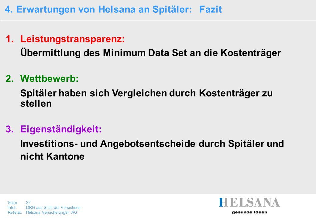 Seite 27 Titel:DRG aus Sicht der Versicherer Referat:Helsana Versicherungen AG 1.Leistungstransparenz: Übermittlung des Minimum Data Set an die Kosten