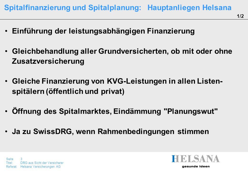 Seite 3 Titel:DRG aus Sicht der Versicherer Referat:Helsana Versicherungen AG Einführung der leistungsabhängigen Finanzierung Gleichbehandlung aller G