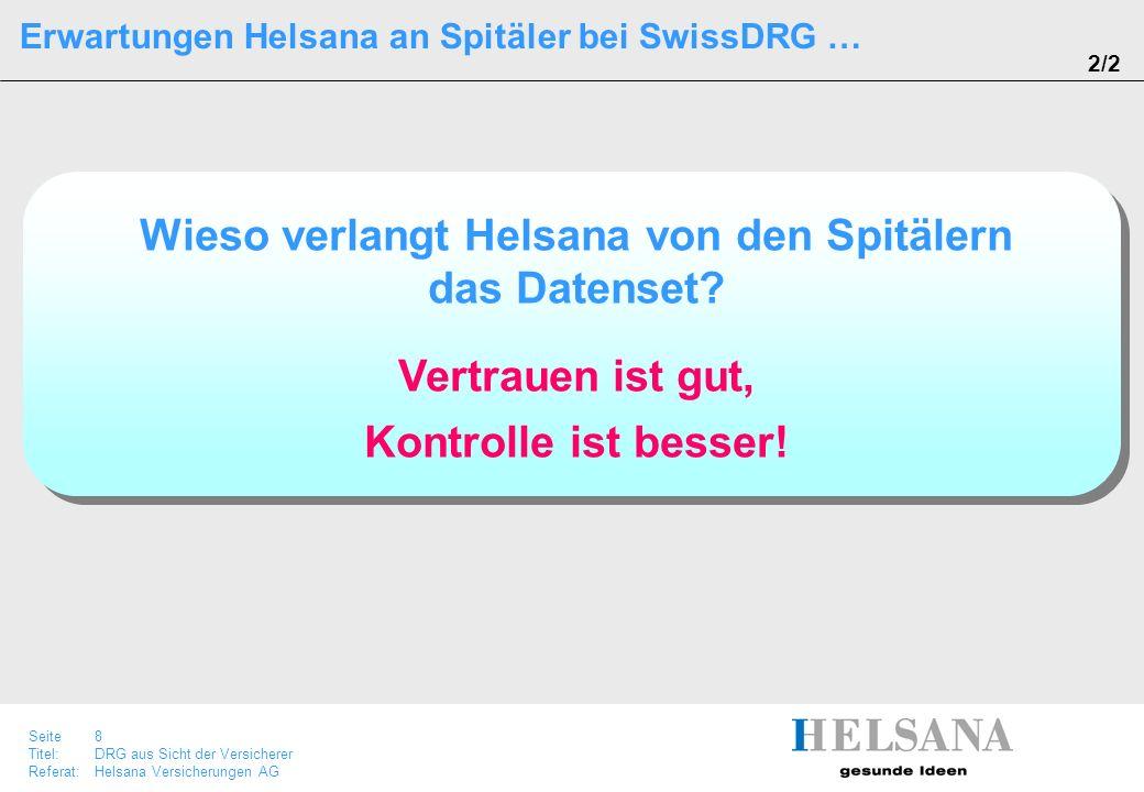 Seite 8 Titel:DRG aus Sicht der Versicherer Referat:Helsana Versicherungen AG Erwartungen Helsana an Spitäler bei SwissDRG … 2/2 Wieso verlangt Helsan