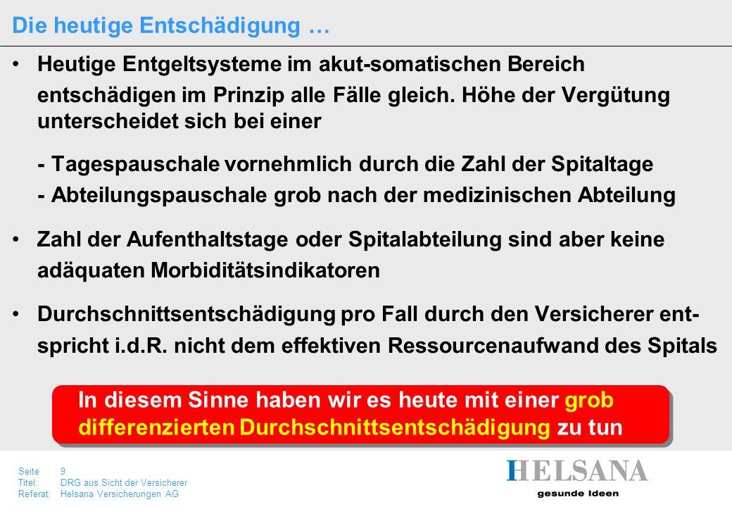 Seite 9 Titel:DRG aus Sicht der Versicherer Referat:Helsana Versicherungen AG Heutige Entgeltsysteme im akut-somatischen Bereich entschädigen im Prinz