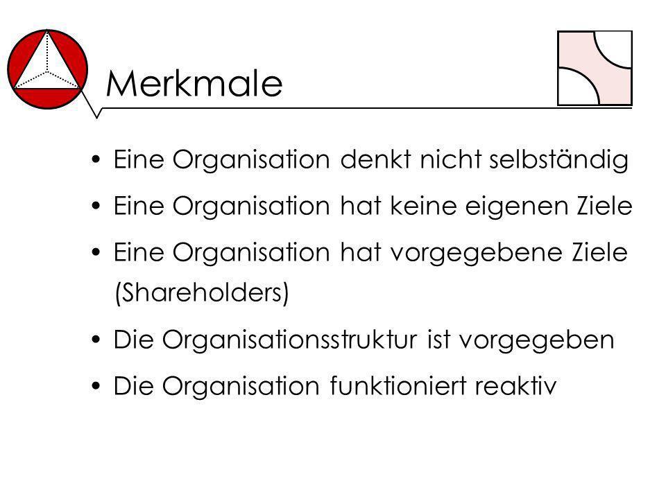 Merkmale Eine Organisation denkt nicht selbständig Eine Organisation hat keine eigenen Ziele Eine Organisation hat vorgegebene Ziele (Shareholders) Di