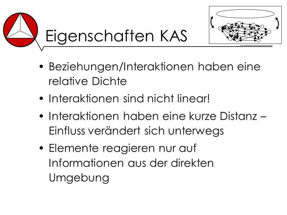 Eigenschaften KAS Beziehungen/Interaktionen haben eine relative Dichte Interaktionen sind nicht linear! Interaktionen haben eine kurze Distanz – Einfl