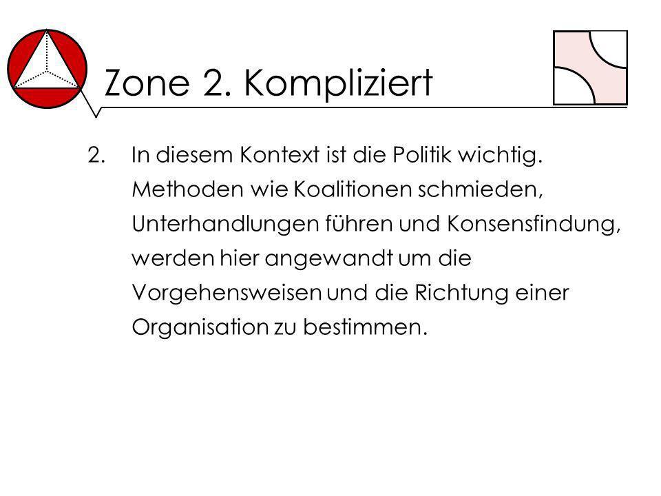 Zone 2. Kompliziert 2.In diesem Kontext ist die Politik wichtig. Methoden wie Koalitionen schmieden, Unterhandlungen führen und Konsensfindung, werden