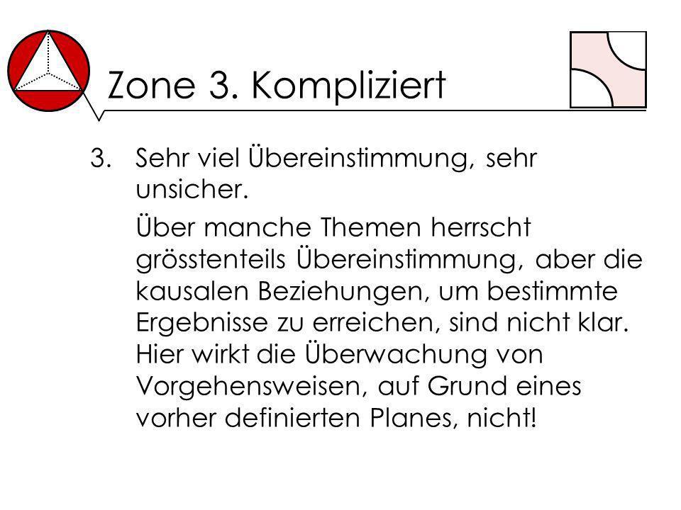 Zone 3. Kompliziert 3.Sehr viel Übereinstimmung, sehr unsicher. Über manche Themen herrscht grösstenteils Übereinstimmung, aber die kausalen Beziehung