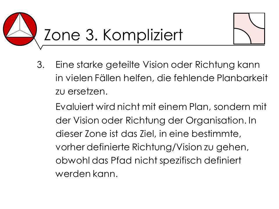 Zone 3. Kompliziert 3.Eine starke geteilte Vision oder Richtung kann in vielen Fällen helfen, die fehlende Planbarkeit zu ersetzen. Evaluiert wird nic