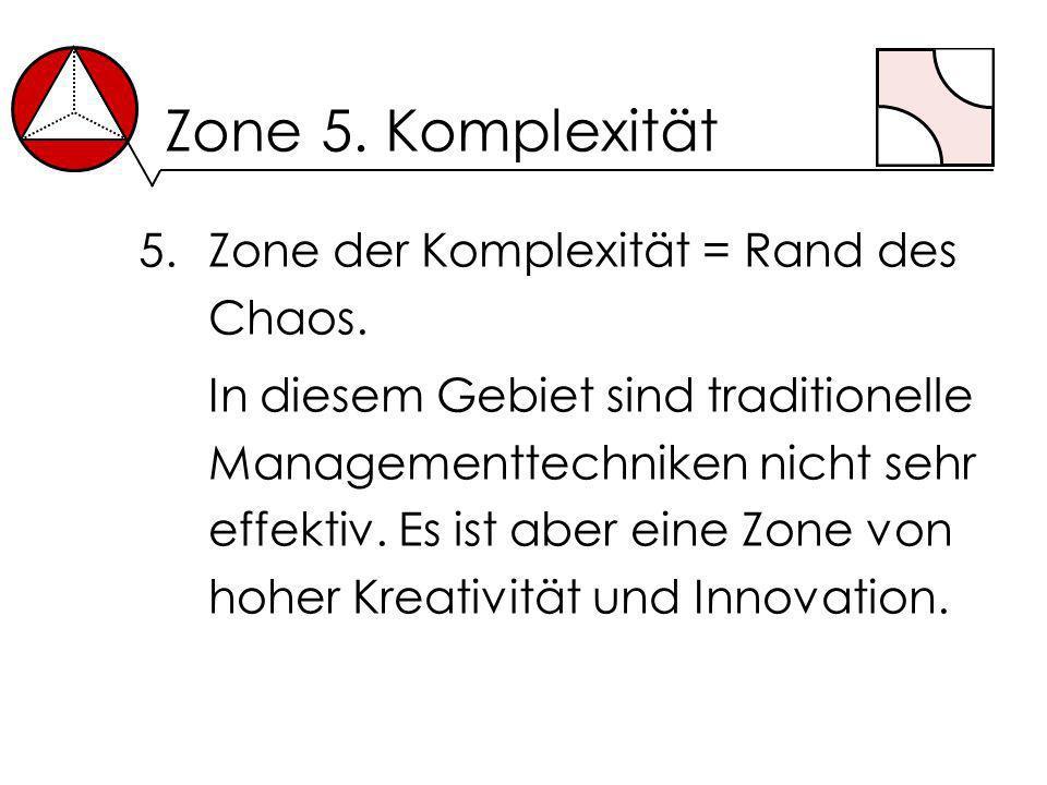 Zone 5. Komplexität 5.Zone der Komplexität = Rand des Chaos. In diesem Gebiet sind traditionelle Managementtechniken nicht sehr effektiv. Es ist aber