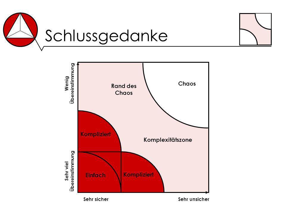 Schlussgedanke Sehr sicherSehr unsicher Sehr viel Übereinstimmung Wenig Übereinstimmung Einfach Kompliziert Chaos Rand des Chaos Komplexitätszone Komp