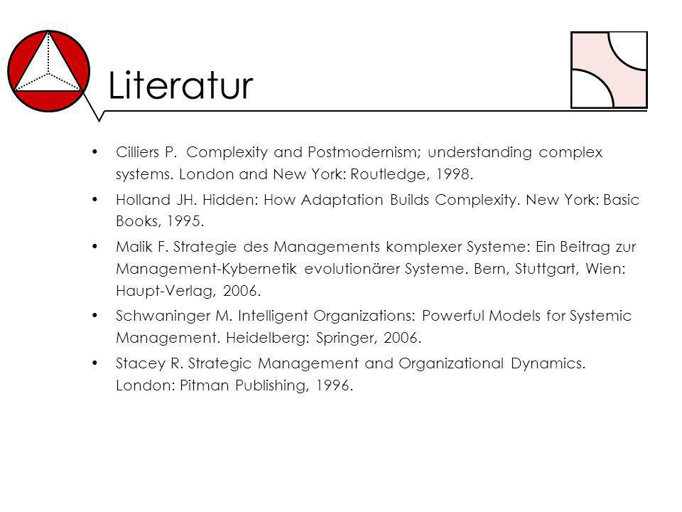 Literatur Cilliers P. Complexity and Postmodernism; understanding complex systems. London and New York: Routledge, 1998. Holland JH. Hidden: How Adapt