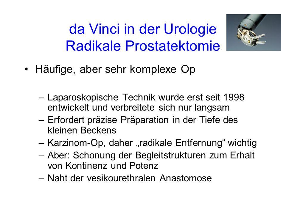 da Vinci in der Urologie Radikale Prostatektomie Häufige, aber sehr komplexe Op –Laparoskopische Technik wurde erst seit 1998 entwickelt und verbreitete sich nur langsam –Erfordert präzise Präparation in der Tiefe des kleinen Beckens –Karzinom-Op, daher radikale Entfernung wichtig –Aber: Schonung der Begleitstrukturen zum Erhalt von Kontinenz und Potenz –Naht der vesikourethralen Anastomose