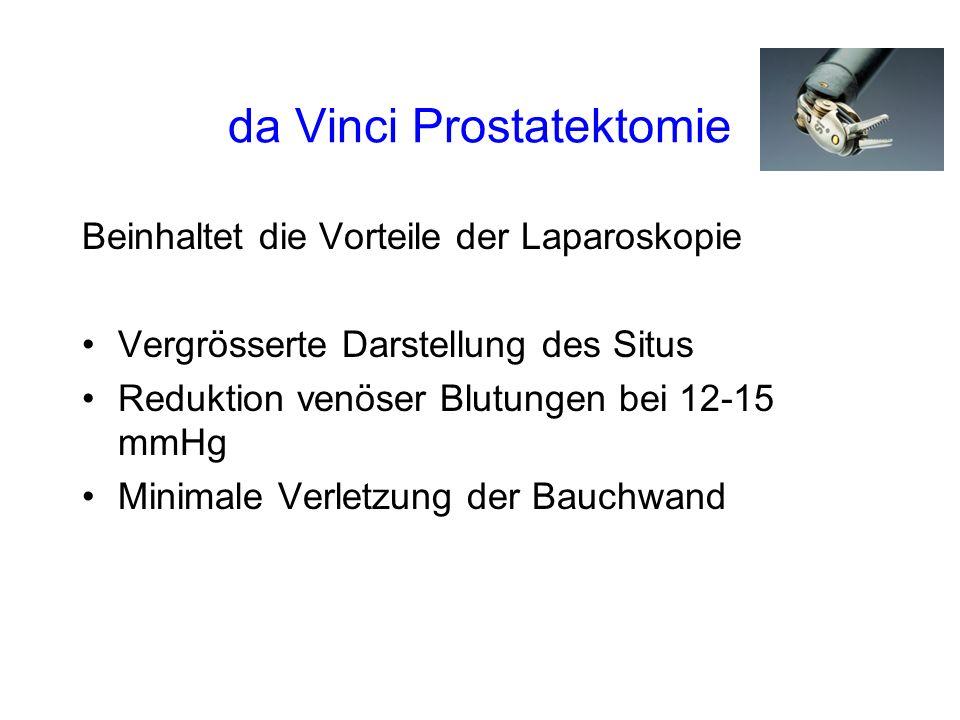 da Vinci Prostatektomie Beinhaltet die Vorteile der Laparoskopie Vergrösserte Darstellung des Situs Reduktion venöser Blutungen bei 12-15 mmHg Minimale Verletzung der Bauchwand