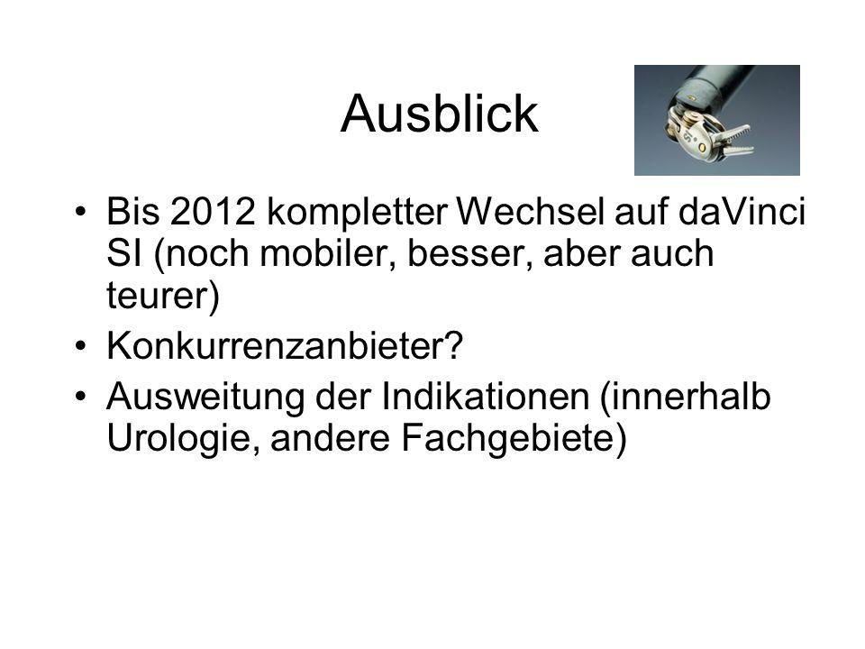 Ausblick Bis 2012 kompletter Wechsel auf daVinci SI (noch mobiler, besser, aber auch teurer) Konkurrenzanbieter.