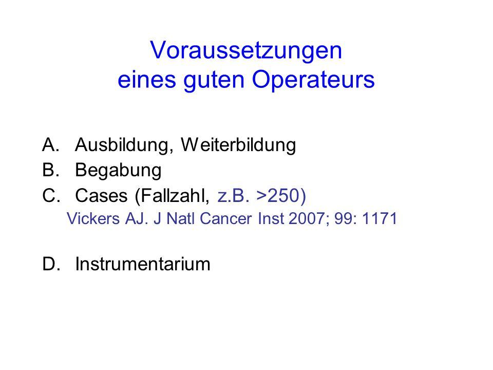 Voraussetzungen eines guten Operateurs A.Ausbildung, Weiterbildung B.Begabung C.Cases (Fallzahl, z.B.