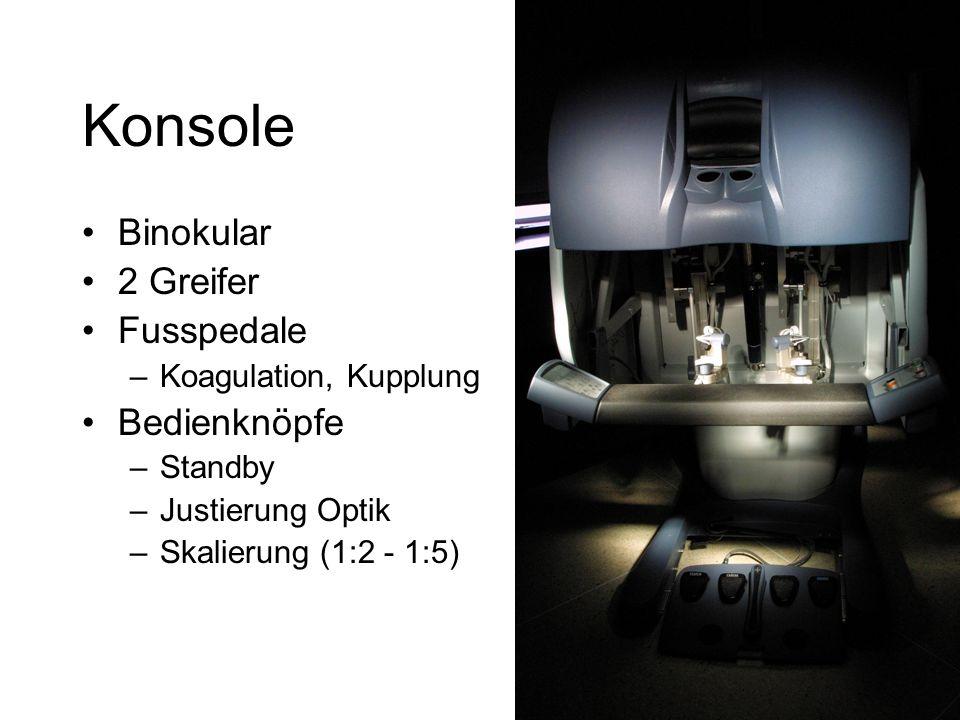 Konsole Binokular 2 Greifer Fusspedale –Koagulation, Kupplung Bedienknöpfe –Standby –Justierung Optik –Skalierung (1:2 - 1:5)