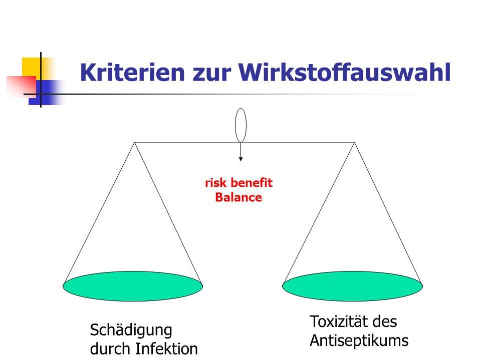 Kriterien zur Wirkstoffauswahl Schädigung durch Infektion Toxizität des Antiseptikums risk benefit Balance