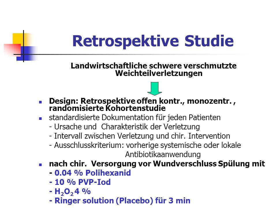 Retrospektive Studie Landwirtschaftliche schwere verschmutzte Weichteilverletzungen Design: Retrospektive offen kontr., monozentr., randomisierte Koho
