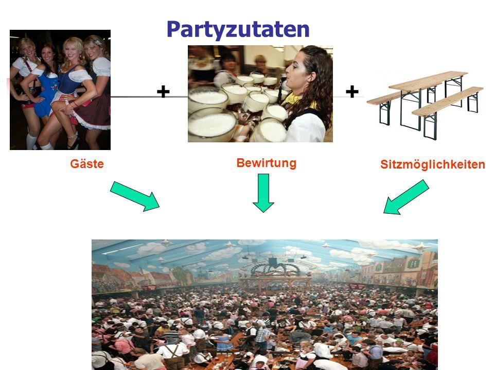 Partyzutaten Gäste Bewirtung Sitzmöglichkeiten ++