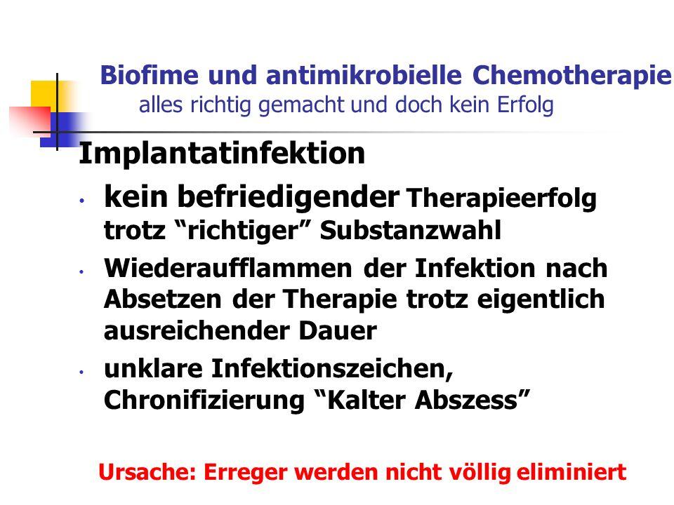 Biofime und antimikrobielle Chemotherapie alles richtig gemacht und doch kein Erfolg Implantatinfektion kein befriedigender Therapieerfolg trotz richt
