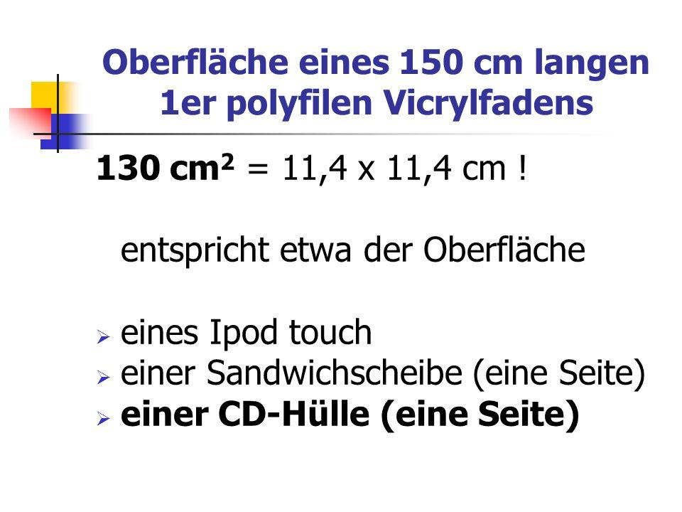 Oberfläche eines 150 cm langen 1er polyfilen Vicrylfadens 130 cm 2 = 11,4 x 11,4 cm ! entspricht etwa der Oberfläche eines Ipod touch einer Sandwichsc