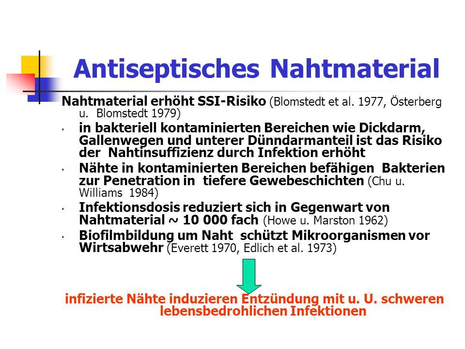 Antiseptisches Nahtmaterial Nahtmaterial erhöht SSI-Risiko (Blomstedt et al. 1977, Österberg u. Blomstedt 1979) in bakteriell kontaminierten Bereichen