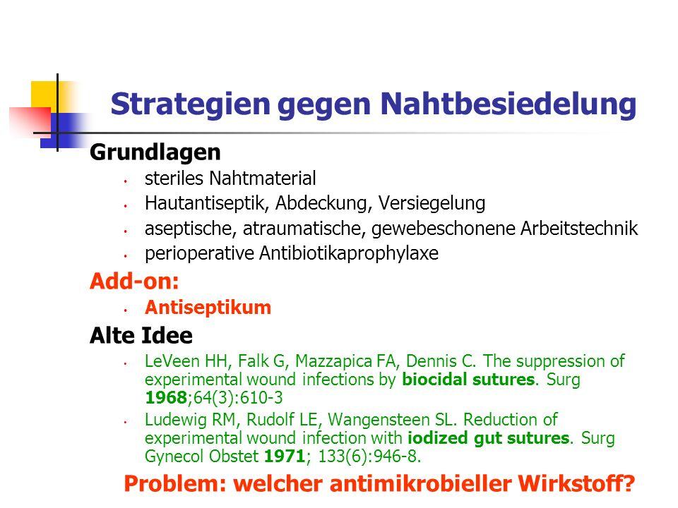 Strategien gegen Nahtbesiedelung Grundlagen steriles Nahtmaterial Hautantiseptik, Abdeckung, Versiegelung aseptische, atraumatische, gewebeschonene Ar