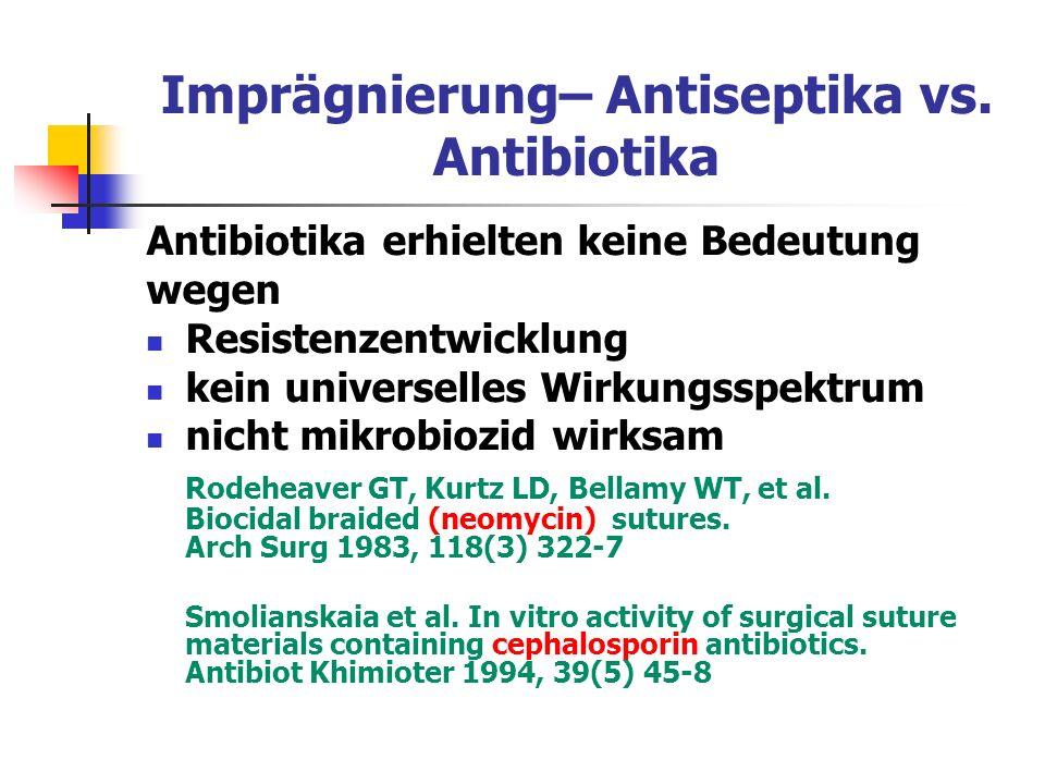 Imprägnierung– Antiseptika vs. Antibiotika Antibiotika erhielten keine Bedeutung wegen Resistenzentwicklung kein universelles Wirkungsspektrum nicht m