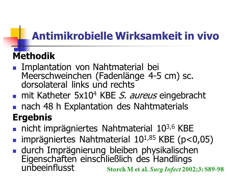 Antimikrobielle Wirksamkeit in vivo Methodik Implantation von Nahtmaterial bei Meerschweinchen (Fadenlänge 4-5 cm) sc. dorsolateral links und rechts m