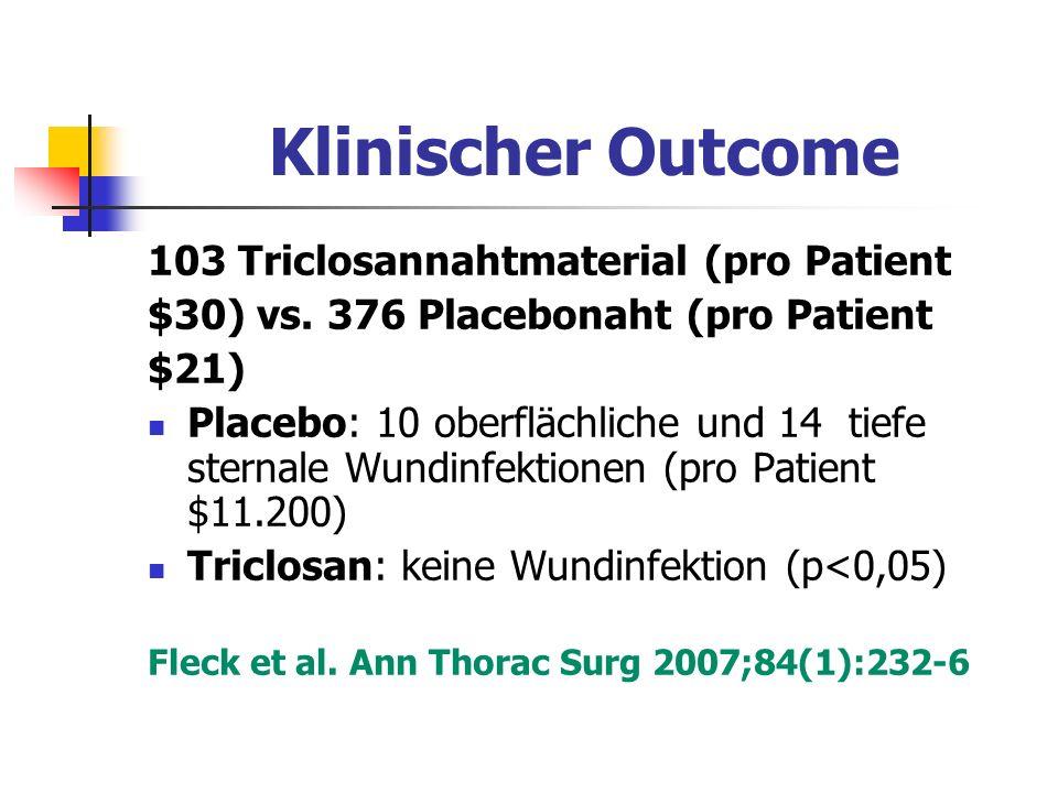 Klinischer Outcome 103 Triclosannahtmaterial (pro Patient $30) vs. 376 Placebonaht (pro Patient $21) Placebo: 10 oberflächliche und 14 tiefe sternale