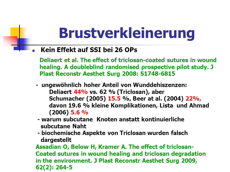 Brustverkleinerung Kein Effekt auf SSI bei 26 OPs Deliaert et al. The effect of triclosan-coated sutures in wound healing. A doubleblind randomised pr